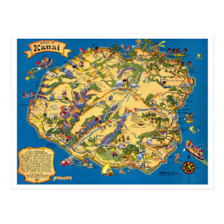 Carte vintage drôle de Kauai