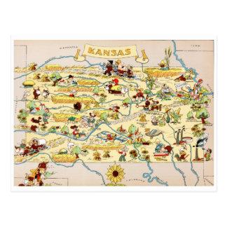 Carte vintage drôle du Kansas