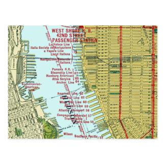 Carte vintage du fleuve Hudson et de Manhattan