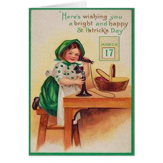 Carte vintage du jour de St Patrick de téléphone