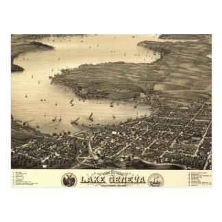 Carte vintage du Lac Léman