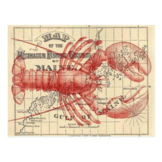 Carte vintage du Maine avec la carte postale de