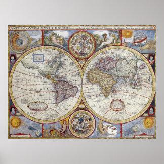 """Carte vintage du monde de 1627, 20"""" x 26"""""""