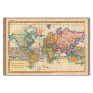 Carte vintage du monde papier mousseline