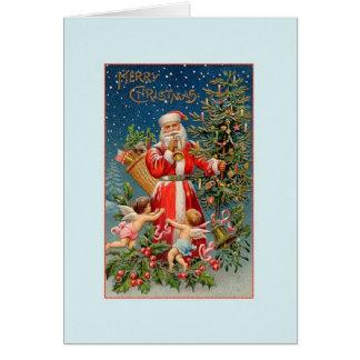 Carte vintage du père noël et de Noël d'anges
