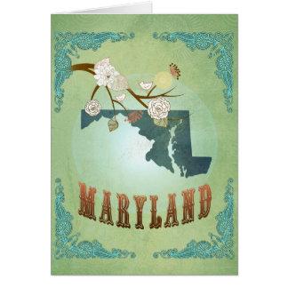 Carte vintage moderne d'état du Maryland - vert