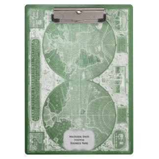 Carte vintage verte du monde personnalisée porte-bloc