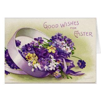Carte Violettes vintages de Pâques