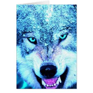 Carte Visage bleu de loup
