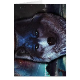 Carte Visage de loup dans l'espace, peinture bleue de