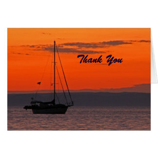 Carte Voilier de Merci de retraite au coucher du soleil