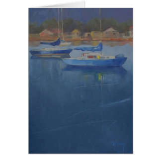 Carte Voiliers dans le port bleu