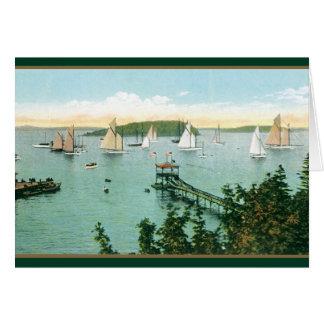 Carte Voiliers vintages dans le port du Maine
