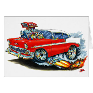 Carte Voiture 1956 rouge de Chevy 150-210