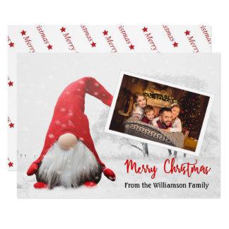 Carte Votre photo avec Noël de gnome de Noël de Milou