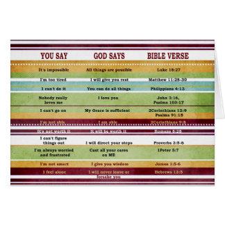 """Carte """"Vous dites/Dieu dit"""" des vers inspirés de bible"""