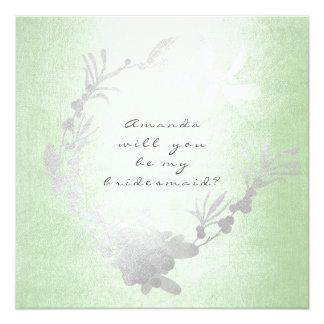 Carte Vous serez ma guirlande de vert de menthe de gris