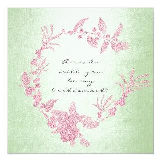 Carte Vous serez ma guirlande de vert de menthe de rose