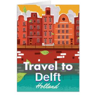 Carte Voyage à l'affiche de voyage de Delft Hollande