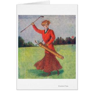 Carte Vue d'une femme dans jouer au golf rouge