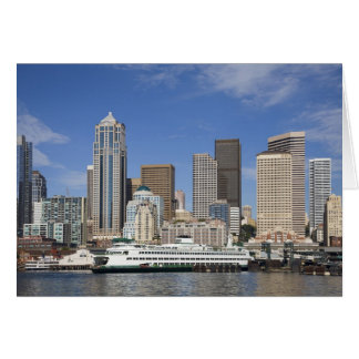 Carte WA, horizon de Seattle, Seattle avec le ferry-boat