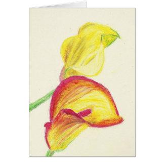 Carte Zantedeschias jaunes