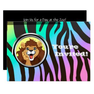 Carte Zèbre de lion de safari de jungle de la fête