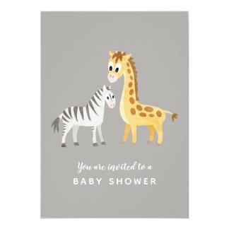 Carte Zèbre et girafe de baby shower de thème de safari