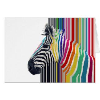 Carte zèbre vibrant coloré à la mode impressionnant de