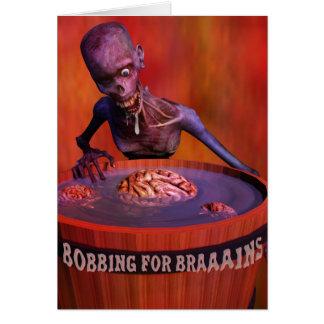 Carte Zombi comique de Halloween pendillant pour des
