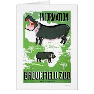 Carte Zoo de Brookfield d'hippopotame WPA 1938