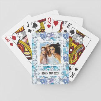Cartes À Jouer Ajoutez votre motif | nautique nommé d'aquarelles