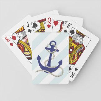 Cartes À Jouer Ancre bleue nautique sur les rayures larges d'Aqua