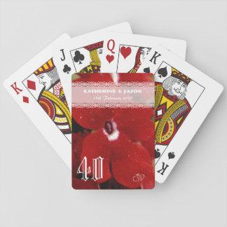 Cartes À Jouer Anniversaire de mariage rouge de rouge quarantième