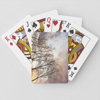 Cartes À Jouer Arbres d'automne de chute au coucher du soleil
