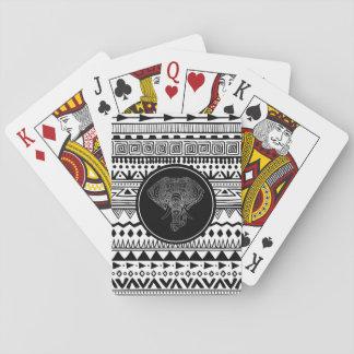 Cartes À Jouer Argent aztèque de blanc de noir de motif