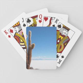 Cartes À Jouer Cactus géant sur la plate-forme de Salar de Uyuni