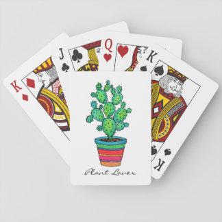 Cartes À Jouer Cactus magnifique d'aquarelle dans le beau pot