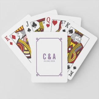 Cartes À Jouer Cartes de jeu chics pourpres de mariage de Deco