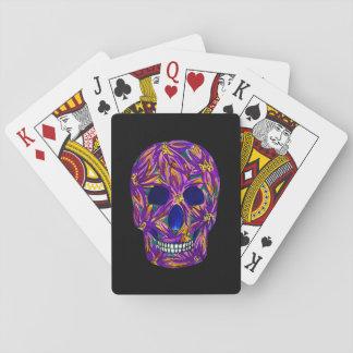 Cartes À Jouer Cartes de jeu noires de crâne pourpre frais de