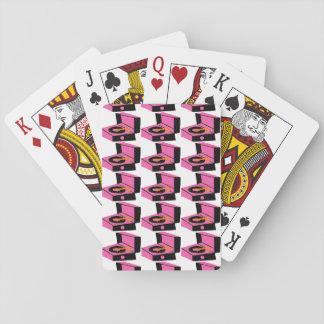 Cartes À Jouer Cartes de jeu roses de pied-de-poule de
