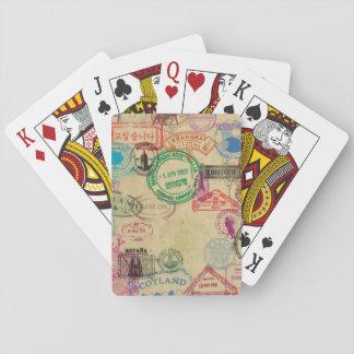 Cartes À Jouer Cartes de jeu vintages de timbres de passeport