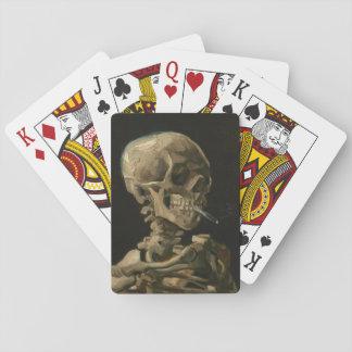 Cartes À Jouer Crâne de squelette avec la cigarette brûlante Van