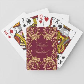 Cartes À Jouer Damassé d'or de monogramme sur rouge foncé