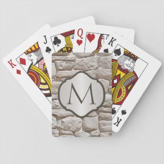 Cartes À Jouer Décoré d'un monogramme en pierre naturel