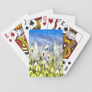 Cartes À Jouer Deux papillons blancs en fleurs d'un jaune de pré