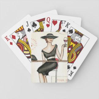 Cartes À Jouer Femme à la mode et verre de vin