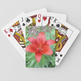 Cartes À Jouer Fleur rouge simple
