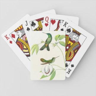 Cartes À Jouer Fleurs d'animaux de faune d'oiseaux de colibri
