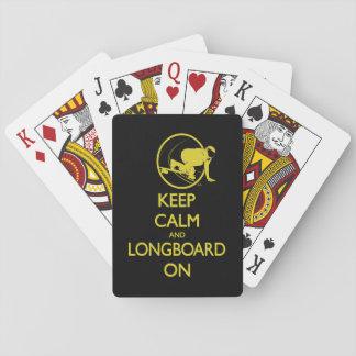 Cartes À Jouer Gardez le calme et le Longboard sur des cartes